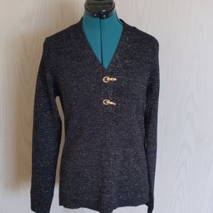 Long sleeve black and gold sparkie sweater